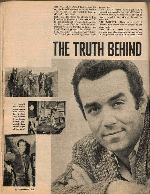 Bonanza May 2011: 'The Truth Behind Those Pernell Roberts Whispers